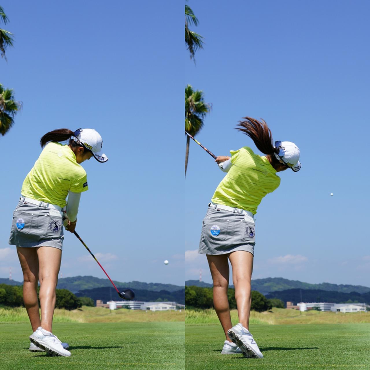 画像: 画像D 下半身で作った回転力を最後まで生かしインサイドに振り抜きターゲットよりもやや左に打ち出すフェードボールで攻める(写真は2020年日本女子プロゴルフ選手権 写真/姉崎正)