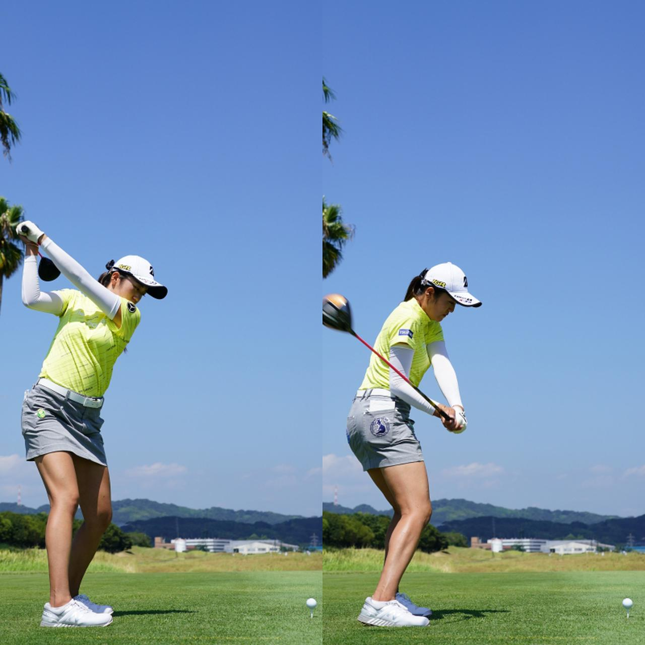 画像: 画像B 手元が頭から遠くややフラットなトップ(左)から前傾角が崩れず下半身で作った回転力が上半身、手元へと連動しクラブが引っ張られるように動く(右)(写真は2020年日本女子プロゴルフ選手権 写真/姉崎正)