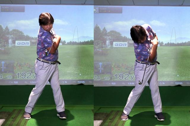 画像: 小澤に教えてもらった練習ドリルを実践する里崎。今までの里崎の動きは両肩がフラットに動いていたが(左)、ドリルによって両肩を上下に回すスウィングの感覚をつかんだようだ(右)