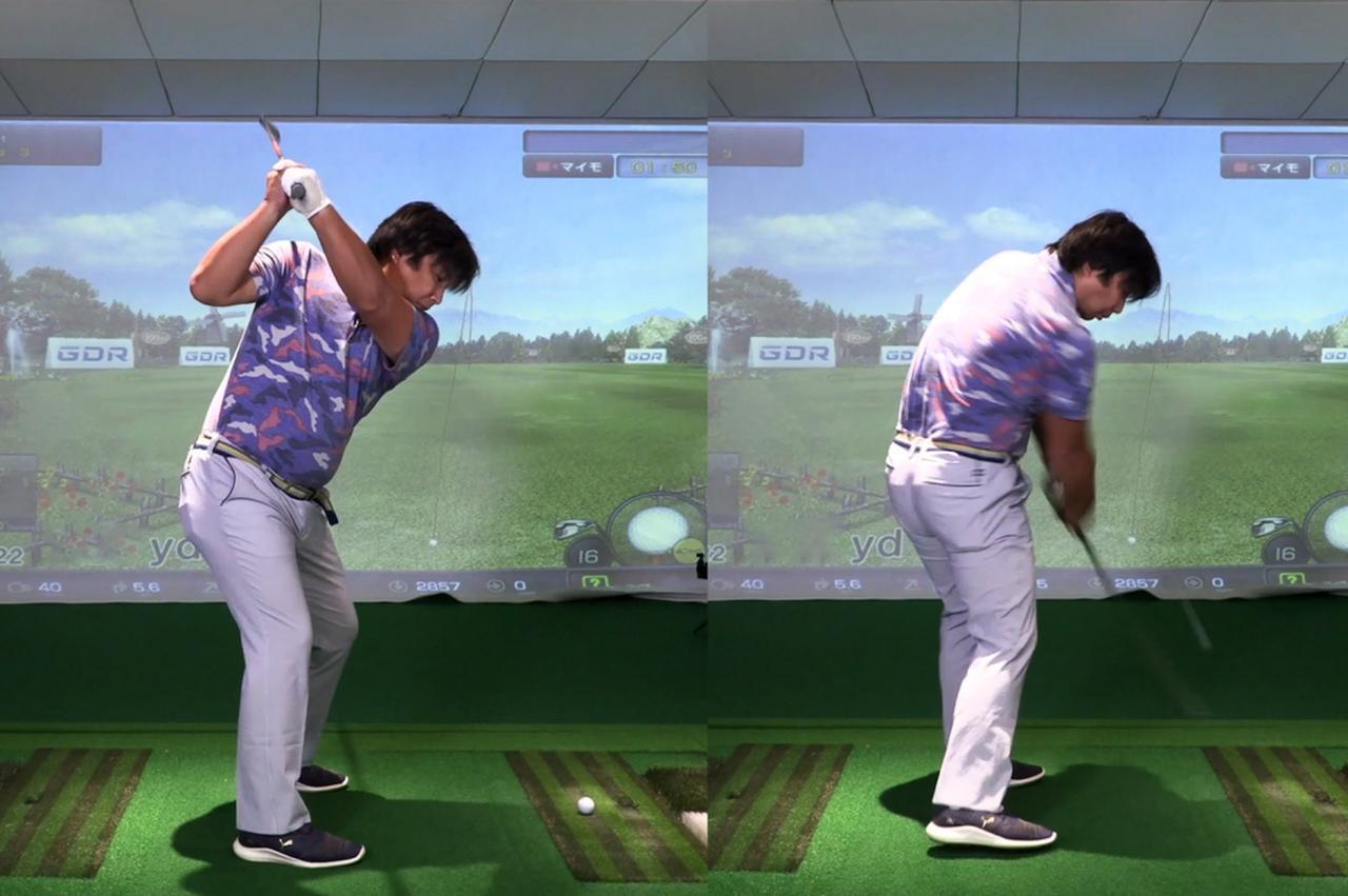 画像: バックスウィングからトップまでは前傾姿勢を保てているが(左)、ダウンスウィング以降の肩の動きがフラットになることで、ヘッドがかぶってインパクトしてしまう(右)。これが引っかけの原因だと小澤は指摘
