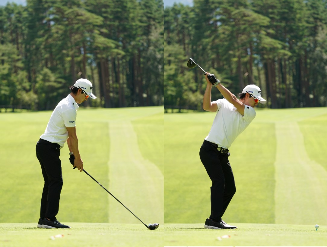 画像: 画像A:腰から後頭部までがほぼ一直線でバランスの取れた姿勢(左)、ややフラットでコンパクトに進化したトップ(右)写真は2020年のフジサンケイクラシック 写真/大澤進二)