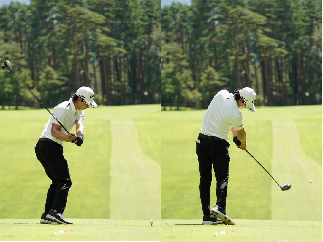 画像: 画像B 前傾をキープしながらクラブが立ちすぎなず早い段階でプレーンに乗る(左)、オンブレーンのままフォローまで振り抜く(右)写真は2020年のフジサンケイクラシック 写真/大澤進二)