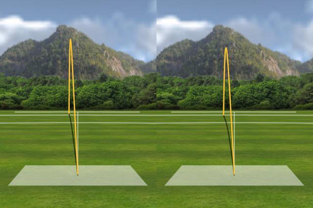 画像: 左は中村が普通に打った場合、右はあえてヒールヒットした場合の弾道なのだが、いずれもキレイなドローになっている