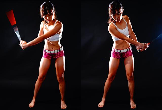 画像: ヘッドがないシャフトだけを思い切り振る。ひざから下に力を入れることで、上半身は脱力できる。手首やひじの硬さが取れ、ヘッドを走らせる感覚が身につく