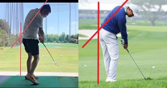 画像: 画像A 左のアマチュアゴルファーとタイガーを比べると前傾角の崩れ、頭の位置の違いが確認できる(写真右/姉崎正)