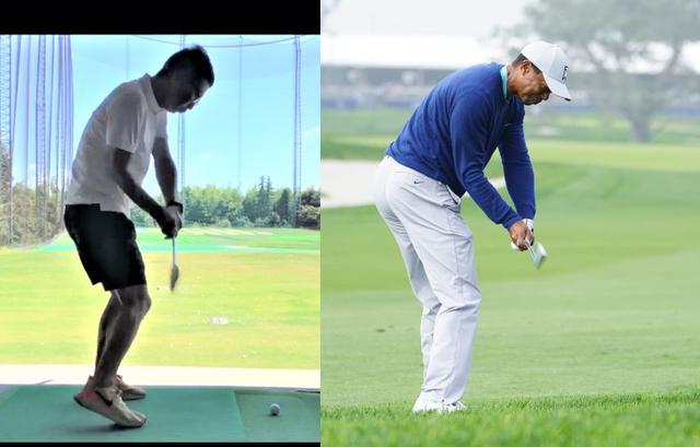 画像: 画像A ダウンスウィングでフェースが開いて下りてくるアマチュアゴルファー(左)に対してフェース面がスクェアで下りてくるタイガー・ウッズ(右)(写真右/姉崎正)