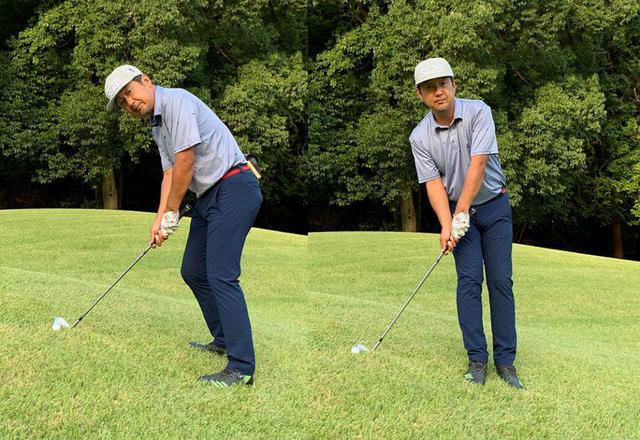 画像: 左が普通のアドレス。右のように目標に正対してアドレスするのが「とんぼ」に載っていた打ち方