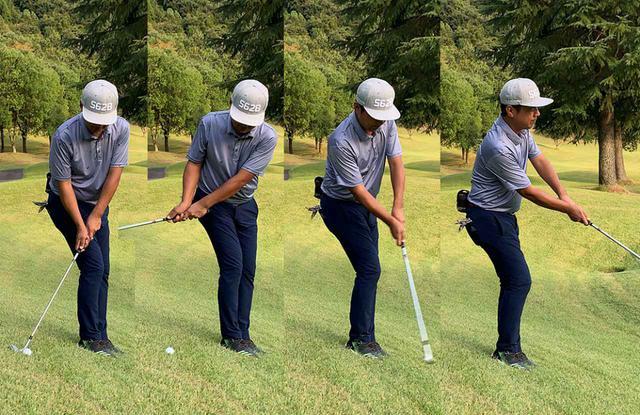 画像: 写真では少しボールが体の横よりも後ろに来ていますが、このあたりから真横の間で自分の打ちやすい場所を見つけるといいと思います。傾斜の角度によってボールの位置とアウトサイドイン軌道の度合いを調整すると良さそう