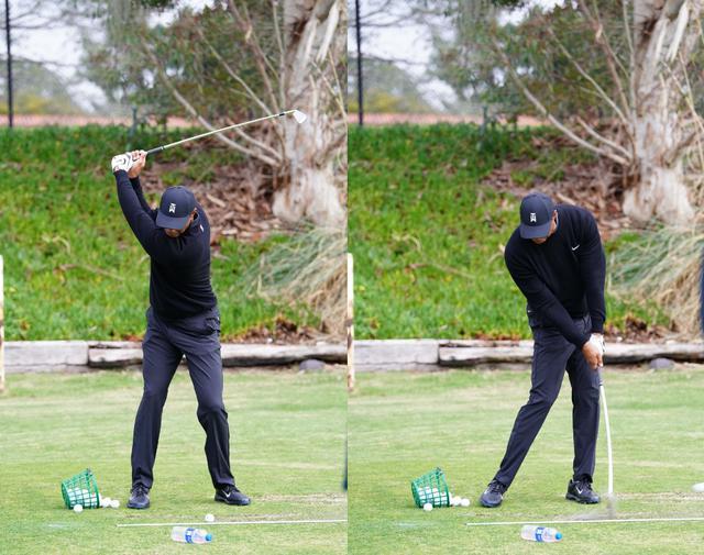 画像: 画像B トップで作った左腕と左手の甲が一直線になるかくどをキープしながらインパクトを迎える(写真/姉崎正)