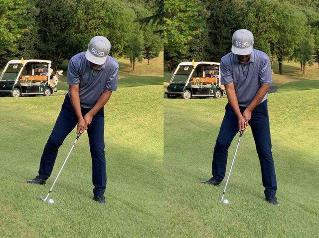 画像: 左のように傾斜なりに立つと、傾斜が急な場合はバランスを崩すこともあるので、右のように鉛直に立ったほうがいい