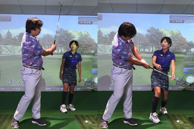 画像: 里崎の普段のアプローチでは、フォロースルーでシャフトが立ってしまっていた(左)。ランが欲しい場合はヘッドを走らせないように振るので、フォロースルーで腕とシャフトが一直線に並ぶのが正解(右)