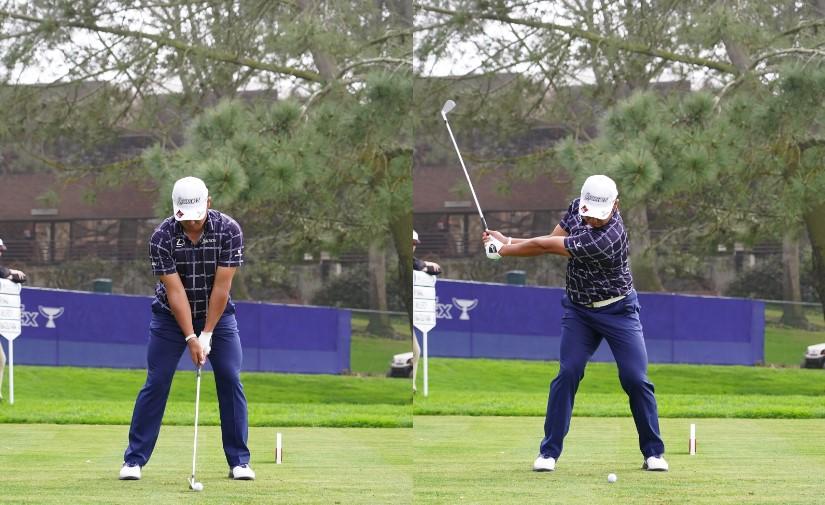 画像: 画像A:左手はウィークに握り(左)、静かに下半身を使いながら早い段階で背中がターゲットを向く(右)(写真は2020年のファーマーズインシュランスオープン 写真/姉崎正)