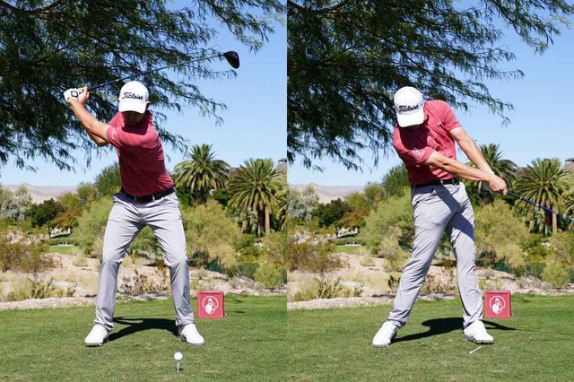 画像: 画像B:切り返しで下半身がアドレス時の形に戻り(左)、そのまま腰をターンさせてインパクト(右)(写真は2019年のシュライナーズ・ホスピタル 撮影/姉崎正)