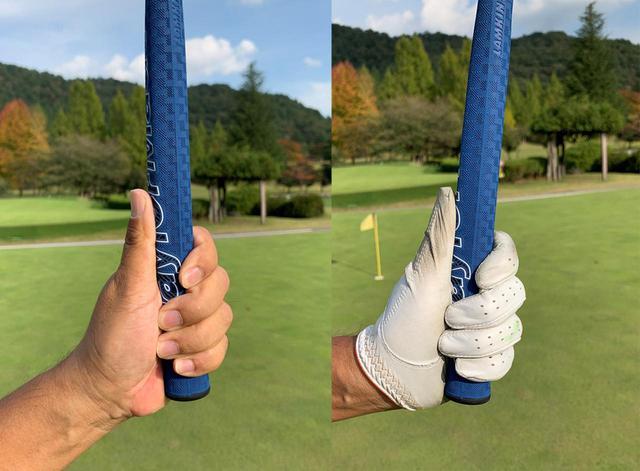 画像: グローブをつけているとグリップとの一体感が生まれる気がします。グローブを外してグリップすると、多少力を入れてしっかり握らないと一体感が生まれない感じ