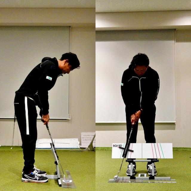 画像: パッティングボードという練習器具を使いイントゥインの軌道とフェース向きを体に覚えこませることで、ラインによって変化するズレを改善した