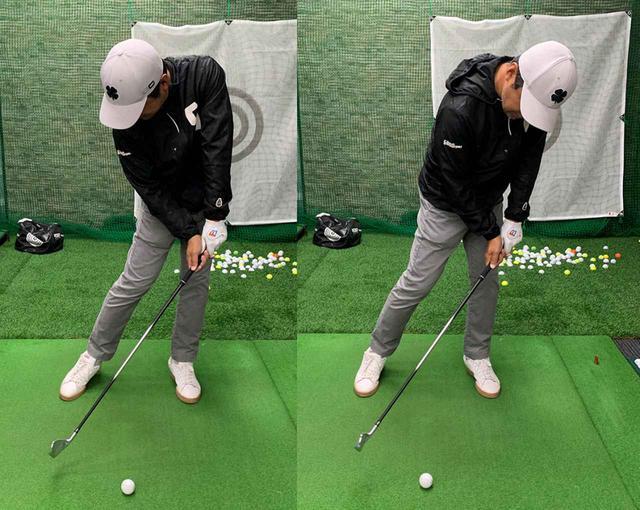 画像: 練習ではかなり極端に左にのるくらいのイメージでやりましょう。右のように上体まで左に突っ込むのはダメですが、最初は多少は仕方ないとのことです