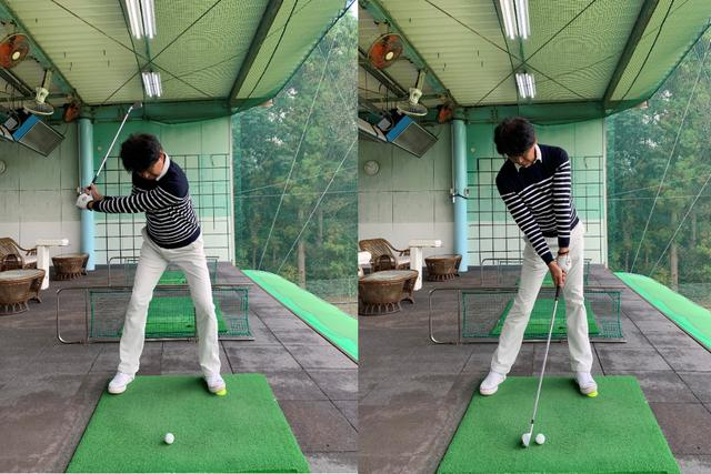 画像: 画像B 左つま先に置いたテニスボールを踏みこみ(左)地面からの反力を得て左ひざを伸ばし左サイドを回転させクラブを加速させる縦の力を使う感覚をつかむ(右)
