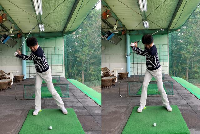 画像: 画像A 右のかかとで半分に切ったテニスボールを踏むとテークバックで体のブレを抑えしっかりと右足に加重できる