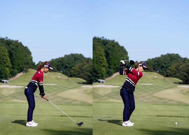 画像: 画像A:オーソドックスなアドレス(左)から前傾角をキープした力感が少なくバランスのいいトップ(右)(写真は2020年三菱電機レディス 写真/姉崎正)
