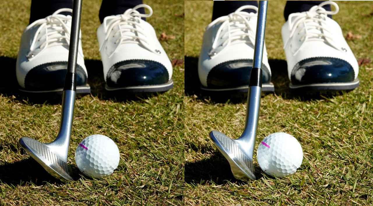 画像: 画像A:ロフト58度のSW(左)だとリーディングエッジから芝に刺さりそうに見えるが、48度のウェッジ(右)では芝の上を滑ってボールにコンタクトできそうに見える