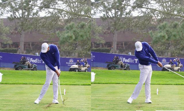 画像: 左ひざを伸ばす動きが入り地面からの反力を使い飛ばしのエネルギーを確保し(左)、右腕を内側に絞るような野球のピッチングと同じ動きの中でフェースをスクェアに戻し振り抜いていることが見て取れる(右)(写真は2020年のファーマーズインシュランスオープン 写真/姉崎正)