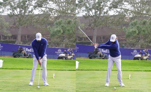 画像: 画像A:オーソドックスでバランスのいいアドレス(左)からヘッドを遠くに上げるワイドなテークバック(右)(写真は2020年のファーマーズインシュランスオープン 写真/姉崎正)