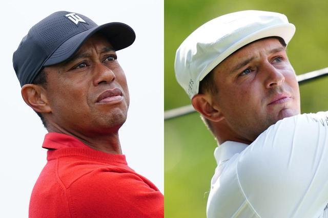 画像: ブリヂストンゴルフとの長期契約を結んだタイガー・ウッズ(左)とブライソン・デシャンボー(右)