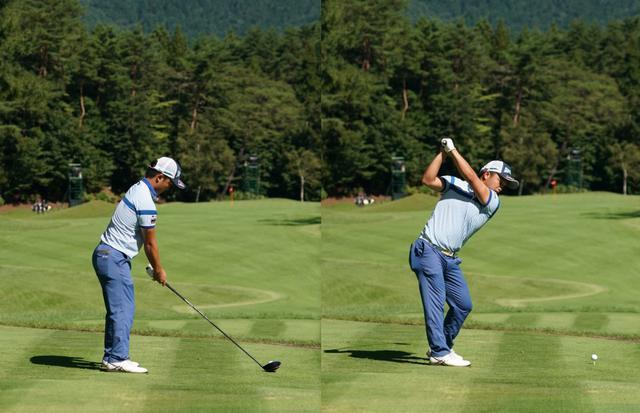 画像: バランスのいいアドレス(左)から下半身を積極的に使い右ひざを伸ばすようにテークバックをする(写真は2020年のフジサンケイクラシック 写真/大澤進二)