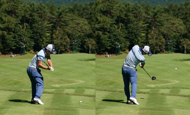 画像: 画像B 切り返し以降は左ひざを伸ばす方向にシフトし(左)、正しい軌道でクラブを振るために下半身を積極的に使う(写真は2020年のフジサンケイクラシック 写真/大澤進二)