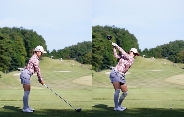 画像: 画像A:ボールからやや離れたアドレス(左)でトップの位置はコンパクトでフェースが空を向くシャットな使い方(右)(写真は2020年の三菱電機レディス 写真/姉崎正)