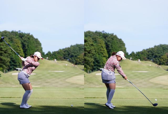 画像: 画像B:下半身が先行した切り返し(左)からお尻がボール方向に近づかず体とヘッドが引っ張り合い懐の広い効率的なインパクト(右)(写真は2020年の三菱電機レディス 写真/姉崎正)