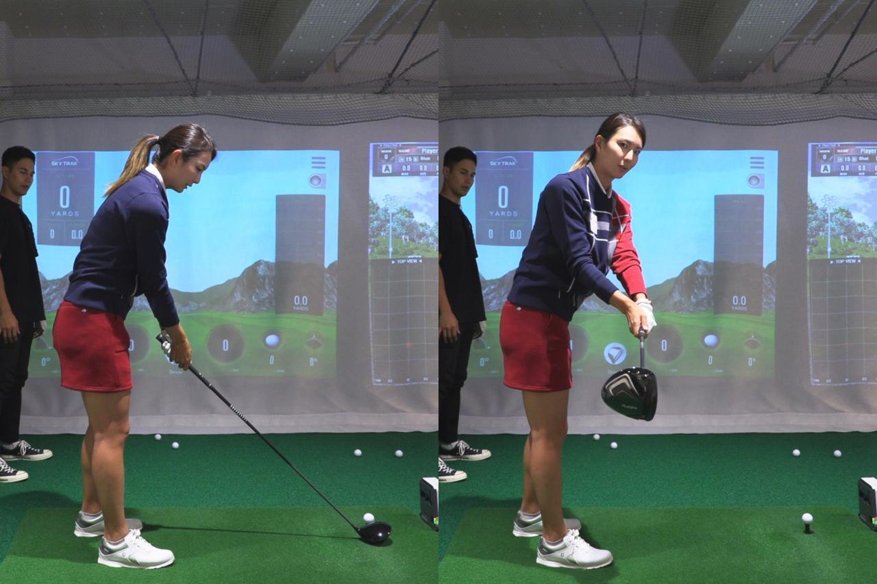 画像: テークバック時(右)に、アドレス時(左)よりも手元を体の正面側へ出しながらテークバックすることで。右ひじが内側へ絞られ、クラブが理想的な軌道を描くという