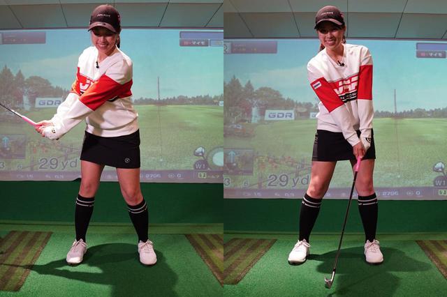 画像: 体重移動の割合はバックスウィング(左)で右足6対左足4、そして切り返してからのインパクト付近(右)では左足4対右足6が目安