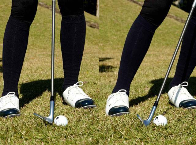 画像: 画像A 重心をセンターに置いた構え(左)と左足体重で構えた(右)とではロフトが大きく変わりことが見て取れる