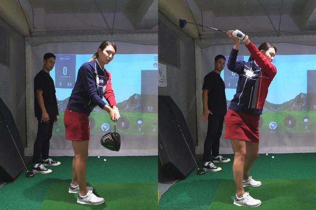 画像: クラブヘッドは上方向ではなく自分の背面側へ向けて動かそう。すると手元の位置が上がり高いトップを作ることができる