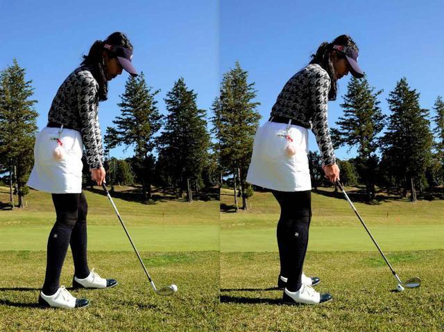 画像: 画像B 右足を引いたクローズスタンス左の画像ではオープンスタンス構えた右の画像よりもインサイドからクラブを入れやすい