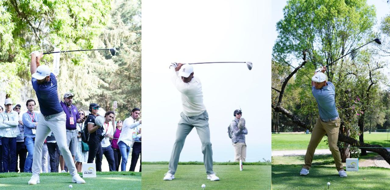 画像: 左から右股関節の上に軸を置くダスティン・ジョンソン、センター軸のタイガー・ウッズ、左股関節に軸を置くブライソン・デシャンボー(写真/姉崎正)