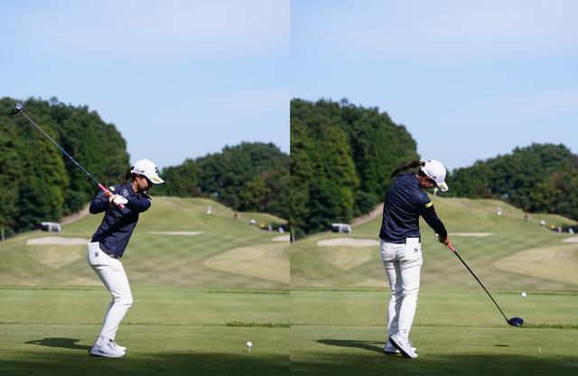 画像: 画像B 骨盤の前傾が深くなるように踏み込んで切り返し(左)、体の回転力をしっかりとクラブヘッドに伝えている(右)(写真は2020年三菱電機レディス 写真/姉崎正)