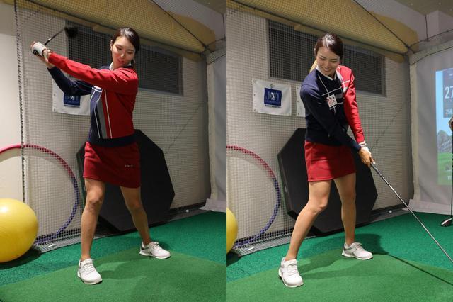 画像: トップまでは体と手の動きでクラブを上げ、ダウンスウィングでは手打ちで振る