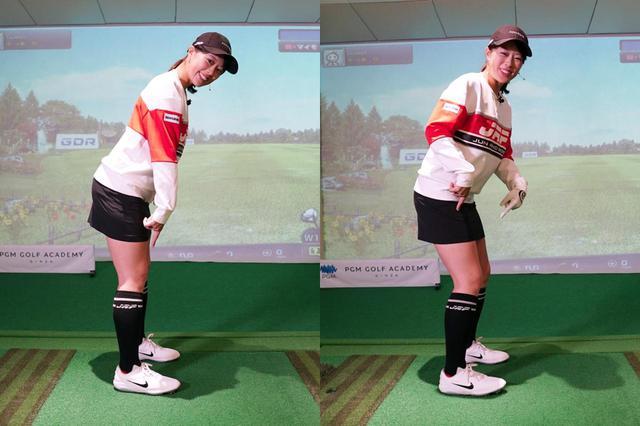 画像: 鼠径部から上半身を前傾させていき(左)、倒れそうになる直前で前傾を止めてひざを曲げる(右)。ポイントは最終的に重心が土踏まず辺りに位置していることだ