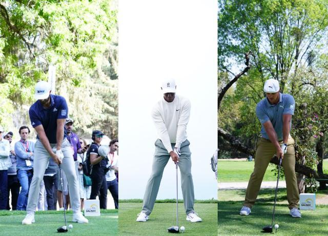 画像: 画像A:左から右軸タイプのダスティン・ジョンソンはボール位置は左足よりで頭の位置は右足寄り、センター軸タイプのタイガーはボール位置は左わきの下辺りで頭の位置はヘッドの上、左軸タイプのデシャンボーはボール位置は真ん中よりで頭の位置はボールの上に近くなる(写真/姉崎正)