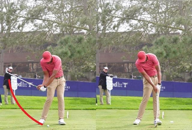 画像: ボールを右足寄りに置き切り返しで左に踏み込み(左)頭の位置をキープしてインパクトする(右)(2020年のファーマーズインシュランスオープン 写真/姉崎正)
