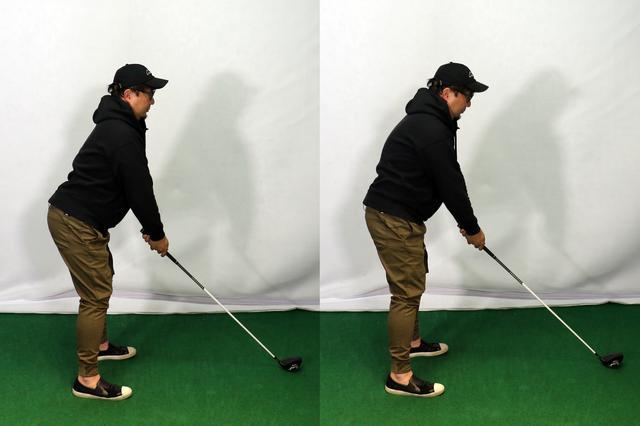 画像: 背中を反ってしまった故障にもつながる間違ったアドレス(左)と正解のアドレス(右)