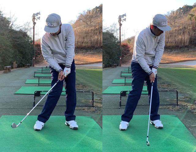 画像: 下半身の動きにつられるように腕とクラブが動くべきなのですが、アマチュアはどうしても下半身と上半身が同時に動き、上体が突っ込みがち
