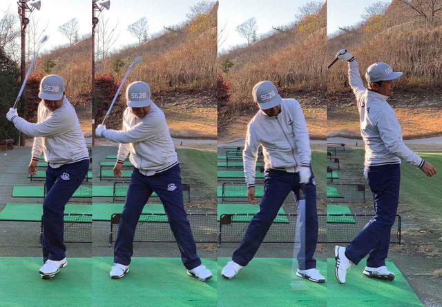 画像: しっかりと右に乗ってから左足を踏み込み、体の回転に引っ張られて腕とクラブが動いて、フィニッシュは左足に乗る