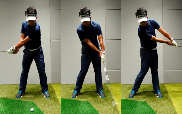 画像: 左手を下に握るクロスハンドドリルはハンドファースト、クラブをコントロールする感覚を体幹できる