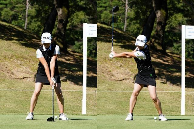 画像: 画像A:スウィング軸を体のセンターに置いたアドレス(左)からテークバック。左腕が地面と平行になる時点で手首のコックは完了し、背中もターゲット方向に向いている(右)(写真は2020年の樋口久子 三菱電機レディス 撮影/姉崎正  )