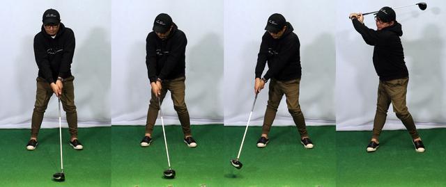 画像: 正しいテークバック。体→腕→ヘッドの順に動いている