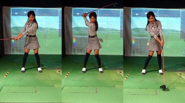 画像: 左手を伸ばした状態をキープしながらスウィングすることで、レベルブローでインパクトしやすいと小澤