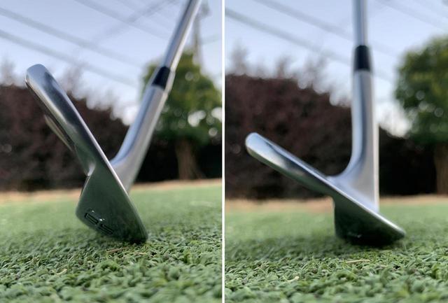 画像: リーディングエッジが地面に当たると刺さってしまうけど、シャフトが垂直でバウンスが地面に当たれば滑ってくれる